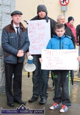 Michael Healy Rae, TD pictured with John Morrissey, Charleville and Jordan O'Connor, Castleisland at the Right2Water protest march in Castleisland today. ©Photograph: john Reidy