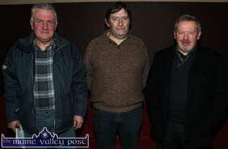 At the Right2Water Castleisland meeting at the Ivy Leaf Art Centre on Wednesday night were from left: Ned Flynn, Cordal; Dónal O'Doherty, Headford and Patrick O'Leary, Glounthane. ©Photograph: John Reidy