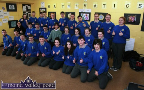 Alan Devine and teacher, Juanita Lovett with Castleisland Community College Transition Year students during their Public Speaking tuition day at the college on Thursday. ©Photograph: John Reidy