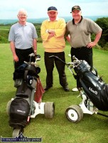 Local golfers out on the Castleisland course for opening day on Saturday afternoon, from left: Ciaran Fleming, Pats O'Donoghue and Donal Nelligan. ©Photograph: John Reidy 1-6-2002