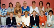 Another historic first for Castleisland Golf Club as the Lady Captain's Prize winners are photographed at the Tulligibeen club house on Sunday evening. Seated from left: Sheila Hannon, Lady President; Mary O'Neill (4th) Mary Whelan, Winner; Breda Geaney, Lady Captain; Betty McAuliffe (2nd) and Kathleen Dowling (Best first 9). Back from left: Mary Geaney, (Best Gross) Máire Geaney, (3rd) Marie O'Connor (F9) Liz O'Connor (5th) Anne Stuart (B9) Mary Shanahan (40 H'cap) and Anne Hanifin (6th). ©Photograph: John Reidy 6-7-2003