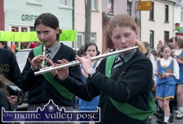 Annie O'Connor (left) and Joyce Murphy were part of the Gaelscoil Aogháin band taking part in the 1997 St. Patrick's Day Parade in Castleisland. ©Photograph: John Reidy 17-3-1997