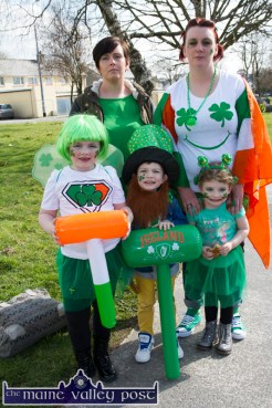 Eileen and Mary Riordan with: Kate, Ché and Eibhlín heading off to catch the start of Castleisland St. Patrick's Day Parade. ©Photograph: John Reidy