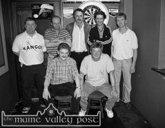 Runners-up: The Greyhound Bar team. Front: J.J. Reidy and John J Horan, captain: Back from left: Mark O'Brien, Danny McSweeney, Pat Brosnan, Donal Ryan and Denis O'Mahony before the 1997 Beamish & Crawford Castleisland Town League Darts final at The Fountain Bar. ©Photograph: John Reidy 10-6-1997