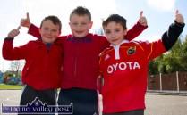 Gaelscoil Aogáin ambassadors: Seán Hegarty, Mark Curtin and Seán O'Flynn pictured during the Glowhearts 4 Crumlin Wear Red Day in Castleisland on Thursday morning. ©Photograph: John Reidy