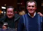 Cordal natives, Denis Moriarty (left) and Tom Hughes pictured at the opening of Hughes Bar in Cordal on Friday evening. Tom, as father of the proprietor Sean Hughes, had the honour of drinking the first pint from the new taps in Cordal's first pub. ©Photograph: John Reidy 11-3-2005