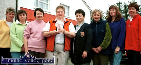 Members of the Knocknagoshel Women's Group pictured with The Kingdom Newspaper/ AIB Award at their local community centre in November 2001. From left: Peg O' Donoghue, Marie O'Callaghan, Marie Reidy, Cáit Curtin, Chairperson; Catherine Brosnan, Mary Lane, the late Carmel Lenihan and Margaret Brosnan. ©Photograph: John Reidy 21-11-2001