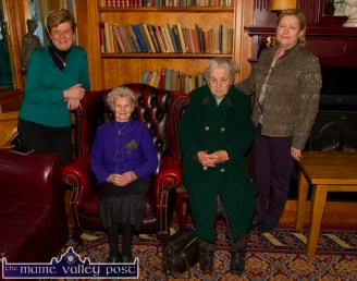 Mrs. Mai O'Donoghue (seated left) celebrated her 97th birthday on St. Patrick's Day with her daughters, Doris Coffey (left) and Noreen Ring with Killarney Road neighbour and friend, Mrs. Philomena Jameson at the River Island Hotel on Tuesday. ©Photograph: John Reidy