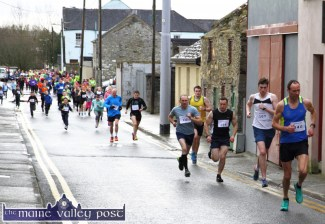 Robert Purcell Snr. leading the charge at the start of the third annual Muire Gan Smál Presentation Primary 5K Fundraiser. ©Photograph: John Reidy 8-3-2015