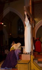 Jesus dies on the Cross: The final scene of the powerful drama at the Church of Saints Stephen & John for the Good Friday Dramatisation of the Passion and Death of Christ by the Tralee based St. John's Parish Actors and Choir. ©Photograph: John Reidy 3-4-2015