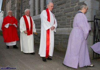 Monsignor Dan O'Riordan (left) Canon Denis O'Mahony and Fr. Seán Horgan in the parade to the Church of Saints Stephen & John for the Good Friday Dramatisation of the Passion and Death of Christ by the Tralee based St. John's Parish Actors and Choir. ©Photograph: John Reidy 3-4-2015