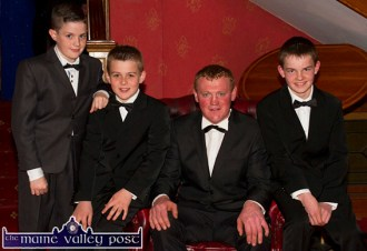 Huntsman, Fred O'Connor pictured at the Kerry Hunt Ball at the River Island Hotel with from left: John Ahern, Currow; Trevor O'Sullivan, Cordal and Ethan Kerin, Scartaglin. ©Photograph: John Reidy