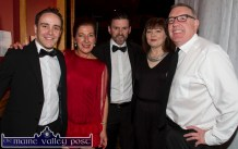 Ready for the floor: Comperes, Andrew Morrissey (left) and Dan Kearney (centre) and Karen Lynch, Castleisland Desmonds Ladies GAA Club pictured with contestants Síle Kerley and Cllr. Bobby O'Connell before the Strictly Come Dancing competition at the River Island Hotel on Friday night. ©Photograph: John Reidy