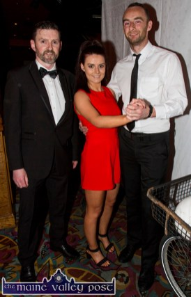 Compere, Dan Kearney pictured with contestants, Elaine Doody and Pa White before the Strictly Come Dancing competition at the River Island Hotel on Friday night. ©Photograph: John Reidy