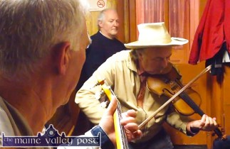 Denis O'Connor pictured with Skip Gorman and Charlie Nelligan in a session at Sheil Prendiville's Bar and Grocery during 2013 World Fiddle Day celebrations. ©Photograph: John Reidy