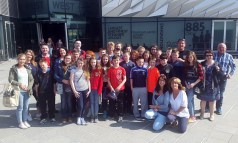 Teachers, parents and pupils pictured during the Gaelscoil Aogáin on Tour visit to the Titanic Museum in Belfast .