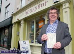 Moyvane writer and poet, Gabriel Fitzmaurice pictured outside Woulfe's Bookshop with his just launched book of sonnets' A Middle-aged Orpheus Looks Back At His Life' at Listowel Writers' Week. ©Photograph: John Reidy 2-6-2013