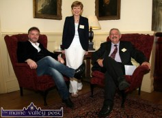 Crime novelist, John Connolly pictured on arrival in Listowel with the welcoming Eilish Wren and Seán Lyons at The Listowel Arms Hotel on Thursday afternoon. ©Photograph: John Reidy 2-6-2011