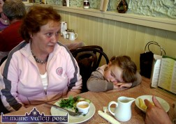Writers' Week Weariness: three-year-old, Ella O'Carroll having a doze in the 'Off the Square' restaurant in Listowel on Friday afternoon with her granny, Eileen O'Sullivan from The Six Crosses. ©Photograph: John Reidy 29-5-2009