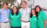 Team Ireland volunteers: Rosaleen Higgins (left) and Stacey O'Sullivan, Castleisland and Catriona Dowling, Ardfert with 'Kennedy Clan' members: Sam (left) and Tim Shriver at the Special Olympics World Games in Athens in June 2011.