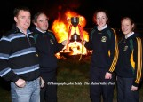 Bonfires greeted the returning and victorious St. Joseph's Girls' Secondary School after another All-Ireland football title win in Tuam in April 2008. Included are: Stephen Murphy, coach; Séamus Falvey mentor and principal, St. Joseph's; Aoife Lyons, captain and Joanne Murphy, mentor. ©Photograph: John Reidy 22/04/2008