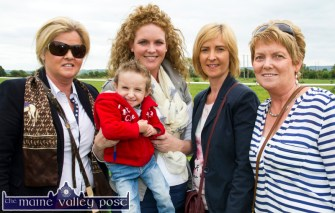 Breda Brosnan, Ballymacelligott (left) pictured with Brody and Caroline Horgan and Sandra Maher, Duagh and Rita Holly, Kilmorna at the annual Castleisland Races at Powell's Road on Sunday afternoon. ©Photograph: John Reidy