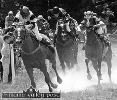 Rising Dust: The thunder of hooves around the fields of Cragg during the Castleisland races in June 2000. ©Photograph: John Reidy 25-6-200