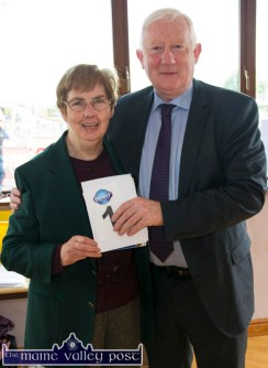 Games Secretary, Margaret Culloty pictured with Frank Hayes, Director of Corporate Affairs, Kerry Group before the Denny Kerry Community Games Athletics Finals at An Riocht AC, Castleisland on Saturday morning. ©Photograph: John Reidy