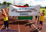 Niall Collins and Róisín Rahilly carried the Ballymacelligott banner into the Denny Kerry Community Games Athletics Finals at An Riocht AC, Castleisland on Saturday morning. ©Photograph: John Reidy