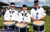 Killorglin and District Pipe Band members: Dearbhala Brennan, Elaine McGillycuddy and Pat Pigott about to strike up for the parade of the Cordal and Firies teams at the re-opening of the Cordal GAA Club Grounds on Sunday afternoon. ©Photograph:John Reidy