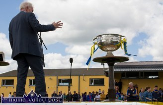 Jimmy Deenihan, TD., Minister for the Diaspora making a point at the re-opening of Cordal GAA Club grounds on Sunday afternoon. ©Photograph: John Reidy