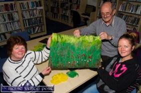 Felt artist and class tutor, Martyn Bell pictured with Anne (left) and Áine Bradley, Ballymacelligott at the Felting class at Castleisland Library. Photograph: John Reidy © 2015