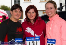 Ruth Lyons (left) and Joanne Aherne, Castleisland and Shirley Egar, Farranfore pictured at the start of the annual Humphrey Murphy Memorial Road Race on Limerick Road, Castleisland on Friday evening. ©Photograph: John Reidy