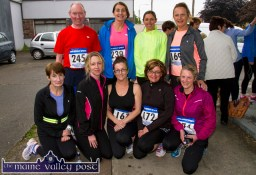 At the start of the annual Humphrey Murphy Memorial Road Race on Limerick Road, Castleisland on Friday evening were, from left: Noreen Quirke, Ballymacelligott; Geraldine O'Callaghan, Rockchapel; Mary J. Murphy, Brosna; Eileen Mahoney and Bridget O'Connor, Rochchapel - with: Noel and Elizabeth Lane, Siobhán Lenihan and Mary Theresa Barry, Brosna. ©Photograph: John Reidy