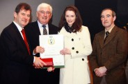 Emer O'Shea from Currow was one of 125 recipients of the inaugural JP McManus All-Ireland Scholarship. Ms. O'Shea is a former pupil of St. Joseph's Presentation Girls' Secondary School in Castleisland. She is pictured here at the presentation with Mr. McManus (left) Batt O'Keeffe,TD. Minister for Education and Séamus Falvey, principal of St. Joseph's Presentation Secondary School, Castleisland. 13/05/2009