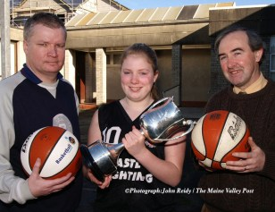 Aoife Daly captained the St. Joseph's Basketball team which won the Marguerite Coakley Memorial Cup. John Enright, PE Teacher and coach is pictured here (left) with his college Principal, Séamus Falvey. ©Photograph: John Reidy 09/02/2006