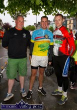 Kevin Moran, (left) and Paudie Walsh, Castleisland and Ian McLoughlin, Athlone at the start of the second annual Longest Day Cycle/Climb/Cycle Challenge in Castleisland on Saturday morning. ©Photograph: John Reidy