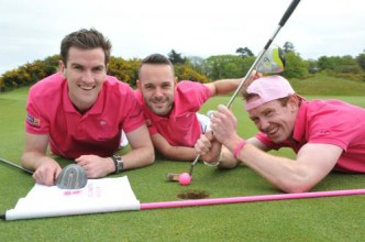All out: Eoin Landers, DJ Geaney and Michael Sheehan aka The Pink Swingers for their 32county / 32 golf course meander around Ireland in memory of DJ's mom Nora Geaney.