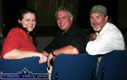 Lyre native, artist and designer, JJ Sheehy, (centre) pictured with his wife Geraldine and David Griffin, Asdee. JJ will perform the official opening of the 18th annual Dan Paddy Andy Festival on the Saturday night. ©Photograph: John Reidy 25/05/2012