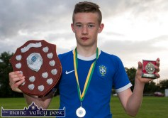 Ben Cooney captained the U-18 King B team to win their age category of the annual Castleisland KDYS / Garda Soccer League. ©Photograph: John Reidy