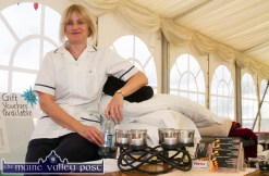 Patricia Hickey-O'Connor pictured at her Clinical Reflexology Therapist stand at the expo in conjunction with HercOileán - The Island Warrior Challenge at An Riocht AC in Castleisland on Saturday morning. ©Photograph: John Reidy