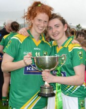 Centres of attention: Kerry captain and centre back, Cáit Lynch Castleisland Desmonds (right) and centre forward, Louise Ni Mhuircheartaigh, Corca Dhuibhne celebrating their historic Munster final win over Cork at Mallow GAA Complex on Saturday evening. Photograph: Colbert O'Sullivan