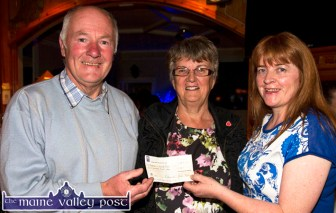 Donal Nelligan and Betty Riordan (centre) accepting a cheque for €500 on behalf of Castleisland Social Club from Castleisland Race Committee secretary, Kay Reidy at the annual, post races presentation of cheques at Tom McCarthy's Bar on Friday night. ©Photograph: John Reidy
