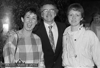 'Tech' teachers: Eleanor Scully, (left) Ciaran Fleming and Majella Diskin at the All-Ireland Club Football Championship team celebration night at Woodies Hotel. ©Photograph: John Reidy 29-3-1985.