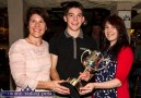 Young musician award winner Cian O'Sullivan, Fossa, Killarney pictured with his mom, Marie and sister, Shinann Buckley-O'Sullivan after he received the Mike Kenny Memorial Perpetual Cup at Browne's Bar in Castleisland on Wednesday night. ©Photograph: John Reidy
