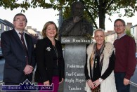 On their way to the first Castleisland Chamber Alliance formation meeting were: meeting chairman, Michael John Kearney, (left) Angela McAllen, Head of Finance, Kerry County Council; Jill Hannon, Hannon's Fashion Shop and Jeremy Burke, Tomo Burke Electrical. ©Photograph: John Reidy