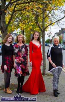 Amber pictured with: Jill Hannon, Hannons Castleisland; Zoe O'Connor and Orla Diffily, Upfront PR preparing for the Castleisland Capital of Fashion event at Nana Bea's on Thursday, October 8th from 7-30pm. ©Photograph: John Reidy