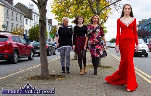 Castleisland Model, Amber O'Donoghue pictured with: Jill Hannon, Hannons Castleisland; Zoe O'Connor and Orla Diffily, Up Front PR flagging the Castleisland Capital of Fashion event at Nana Bea's on Thursday, October 8th from 7-30pm. ©Photograph: John Reidy