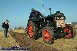 Aeneas Horan, Castleisland competing in the Two Furrow Vintage Class with the late Dan Riordan checking his progress at the Ballyheigue Ploughing Championships in 2008. ©Photograph: John Reidy 17/02/2008