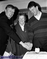 Mick Galwey pictured with his late mother, Bridget and the late Moss Keane at a reception in Currow in Galwey's honour on the occasion of his selection to the 1993 British and Irish Lions New Zealand touring side. ©Photograph: John Reidy 31-3-1993.